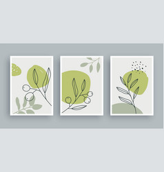 Olive branch botanical wall art painting vector