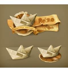 Paper boat icon vector
