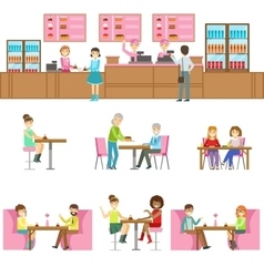 People In Sweet Bakery Cafe Set Of vector image