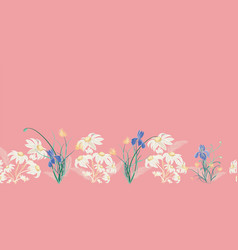 Pink border design flannel flowers and iris repeat vector