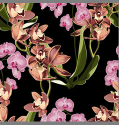 pink flowers and brown orchid pattern vector image