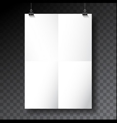poster mockup template with folded paper vector image