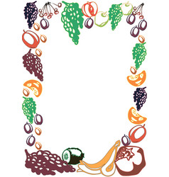 poster template with hand drawn fruits and berries vector image
