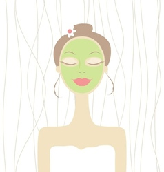 Pretty woman with cosmetic mask on face vector image