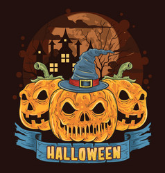 pumpkin halloween hat artwork vector image