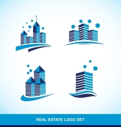 Real estate blue building skyscraper logo vector image