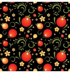 Red currant floral pattern in khokhloma style vector