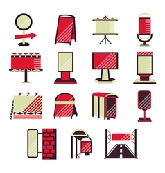 Red flat icons for outdoor advertising vector image