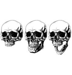 Scary graphic human skull with black eyes set vector image