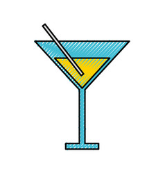 Scribble yellow cocktail cartoon vector
