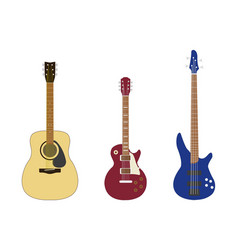 set guitar in flat style on a white background vector image