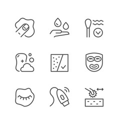 set line icons skin care vector image
