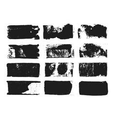 Set of rectangular text box grunge paint stripe vector