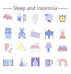 Sleep and insomnia flat icons set vector