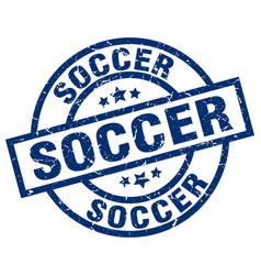 soccer blue round grunge stamp vector image