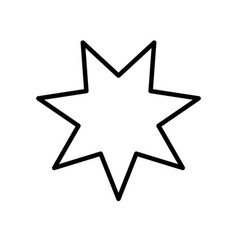 Star seven pointed line style icon vector