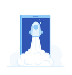 startup rocket start to air from phone screen vector image