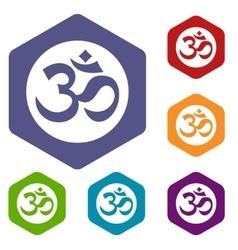 Symbol Aum icons set vector