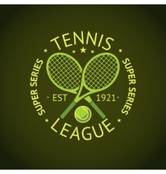 Tennis League super series label badge for your vector image