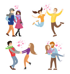 Togetherness concept set young man and woman vector