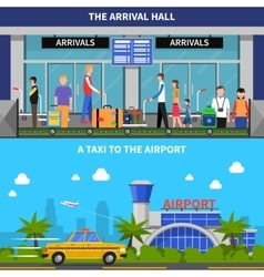 Traveling By Plane Banners Set vector