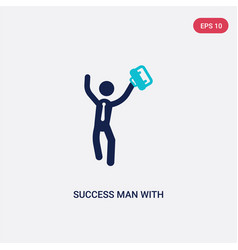 Two color success man with suitcase icon from vector