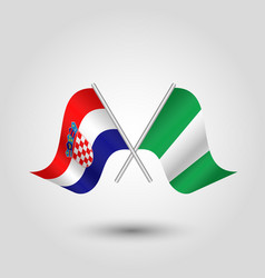 Two crossed croatian and nigerian flags vector