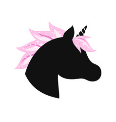 Unicorn head silhouette with mane hair and glitter vector
