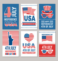 Usa independence day cards template of various 4 vector