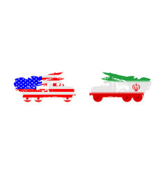 Usa missile rocket carrier against iranian bomb vector