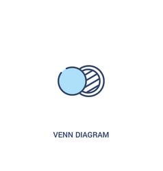 Venn diagram concept 2 colored icon simple line vector