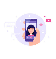 video call using smartphone internet technologies vector image