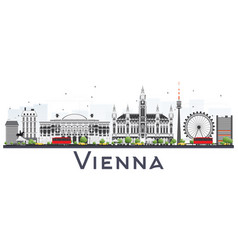 Vienna austria city skyline with gray buildings vector