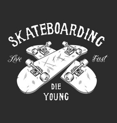 Vintage skateboarding white label vector