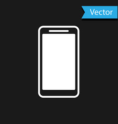 White smartphone mobile phone icon isolated on vector