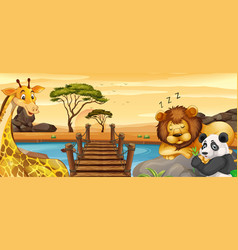 Wild animals resting by river vector