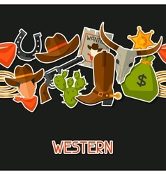 Wild west seamless pattern with cowboy objects and vector