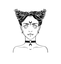 Young subcultural girl with choker and dark moon vector