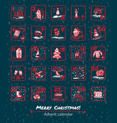 advent calendar 25 days of christmas set icons vector image vector image