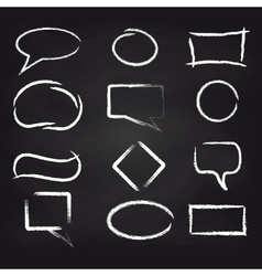 Chalk speech frames on blackboard background vector image