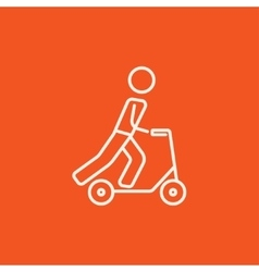 Man riding kick scooter line icon vector image