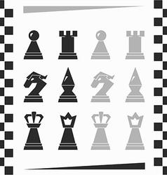 monochrome chessmen silhouette vector image
