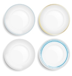 Set of empty white plate vector image