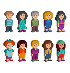 Set of funny pixel art style isometric characters vector