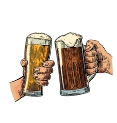 Two hands holding and clinking with two beer vector image vector image