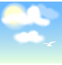 White Bird on blue sky with clouds vector image