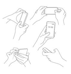 Hand holding smartphone sketch vector image
