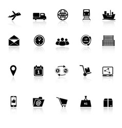Logistic icons with reflect on white background vector image vector image