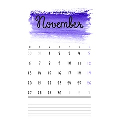 calendar 2017 template with violet watercolor vector image