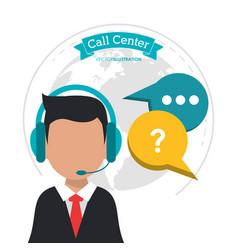 call center man business bubble speech vector image